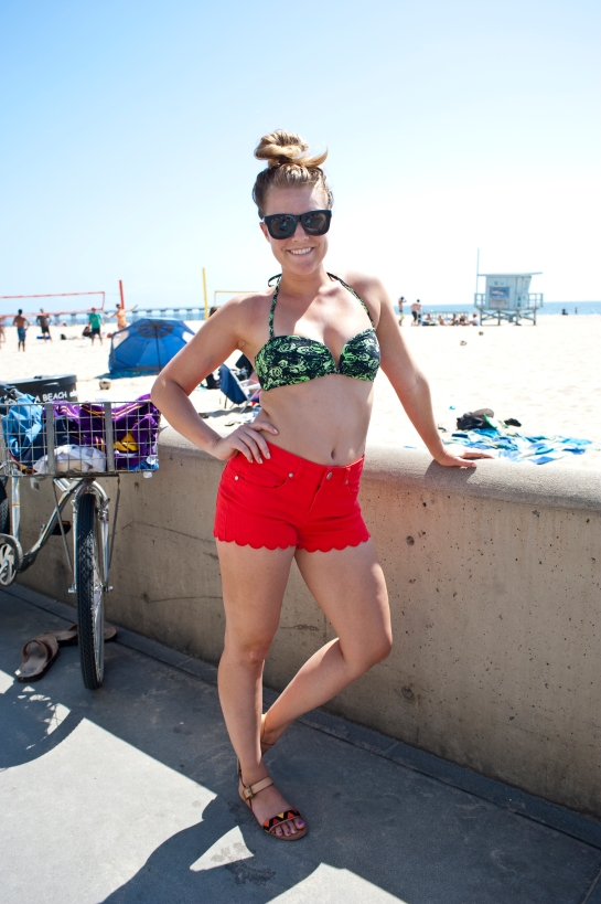 Katie Edson in Marshall's shorts, Target shoes and H&M bikini top.