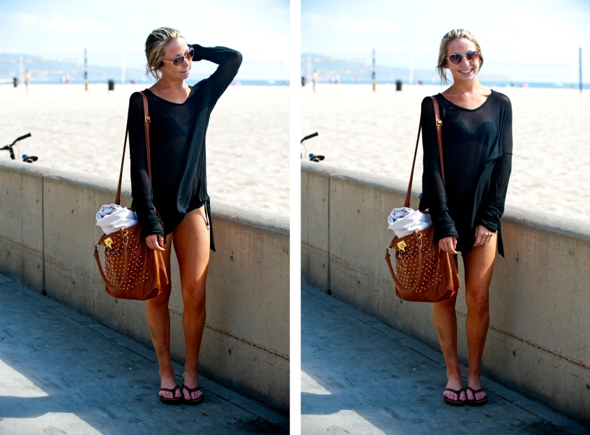 Melyssa Diehl wears a sheer sweater as a beach cover-up.