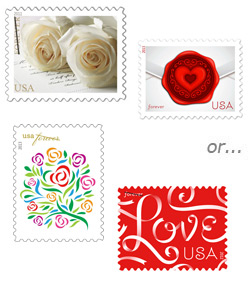 Current USPS wedding-themed stamps
