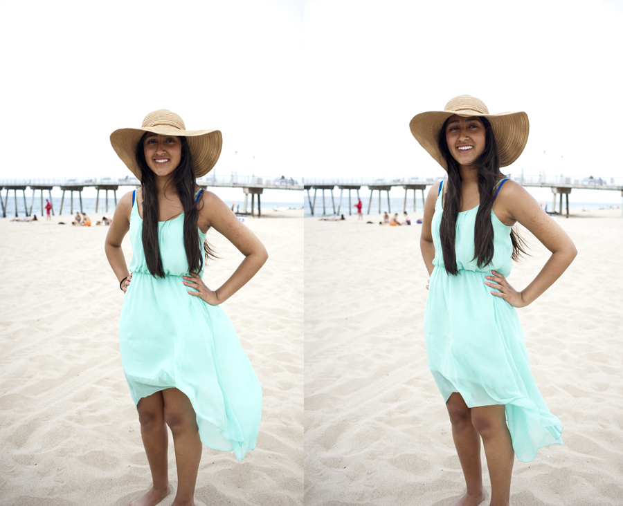 Jacqueline Beltran in a straw hat from H&M and high-low dress