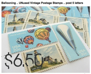 Ballooning .. UNused Vintage Postage Stamps .. post 5 letters from Etsy seller VerdeStudio