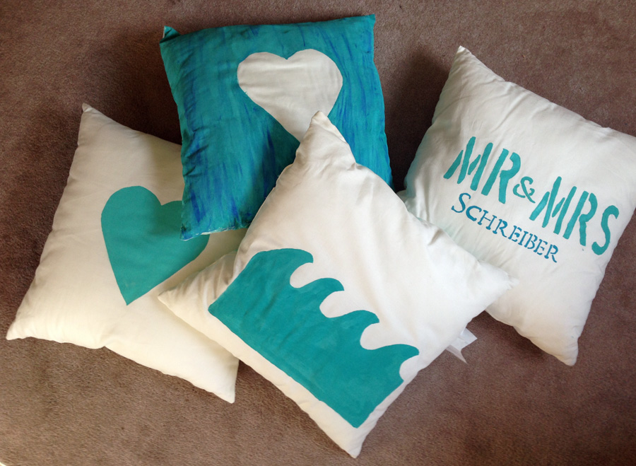 Pillows painted with acrylic paint