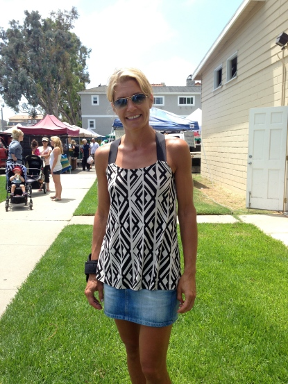 Melanie on vacation from Germany visiting the Hermosa Farmers' market