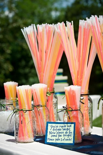 Glow sticks as ambiance and party favors http://www.bespoke-bride.com