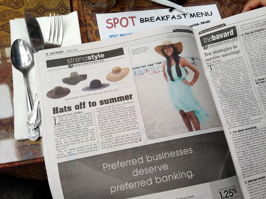 "Strand Style ""Hats off to Summer,"" was featured in the July 25 edition of the Easy Reader News"