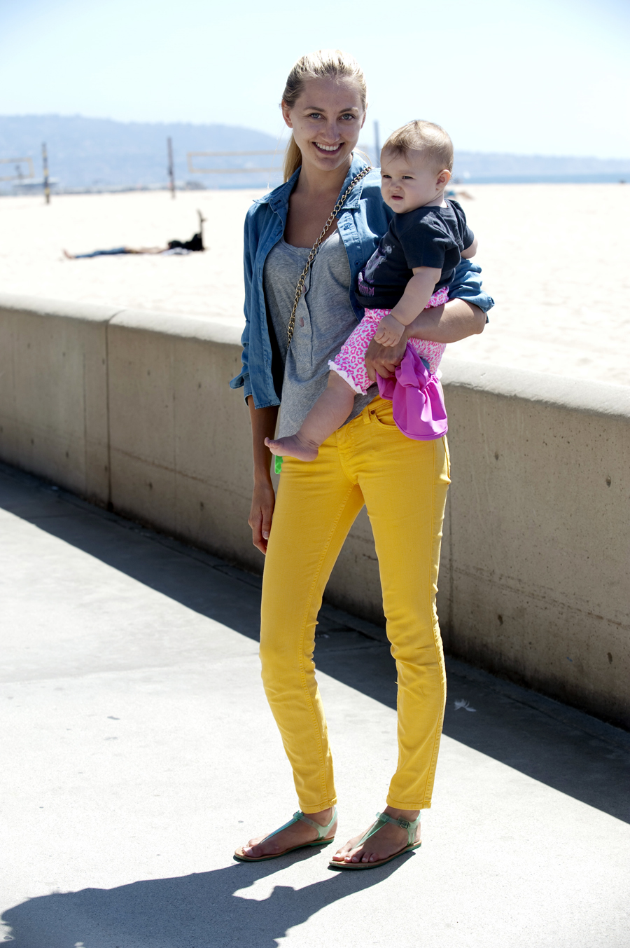 Tessa Lacy with her daughter Autumn in Hermosa Beach