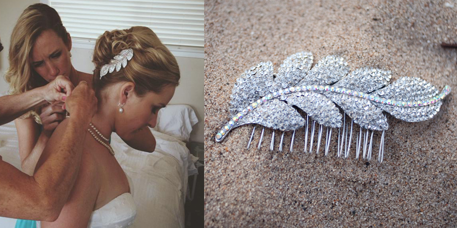 Rhinestone leaf hair comb. Photo by Alex Siebenthal