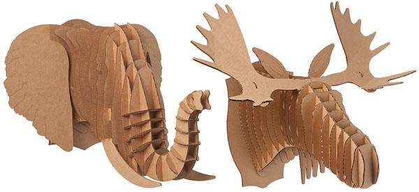 For the stylish kid... Cardboard Safari Heads ($25)