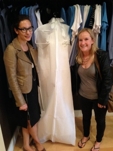 Picking up my finished wedding dress just days before the wedding.