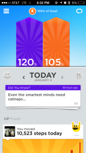The Jawbone UP24's fitness tracking app