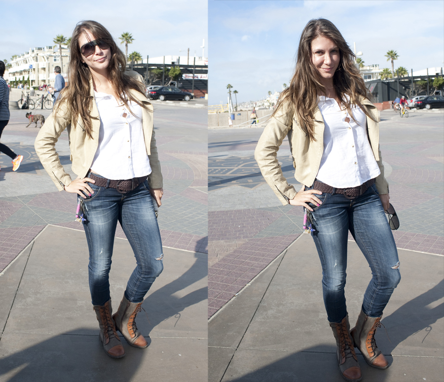 Mystery fashionable girl on the Hermosa Beach Pier Plaza
