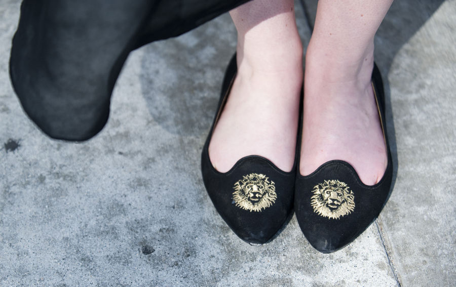 Tiffany Pilon's lion-embroidered flats.