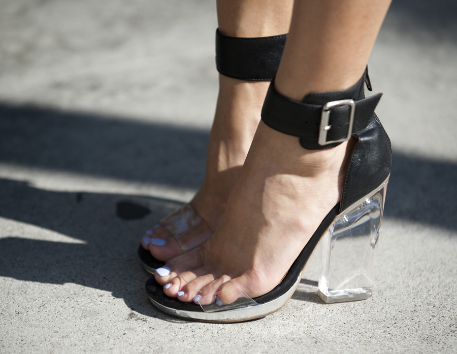 Michelle Wee's Jeffrey Campbell clear-heeled heels.