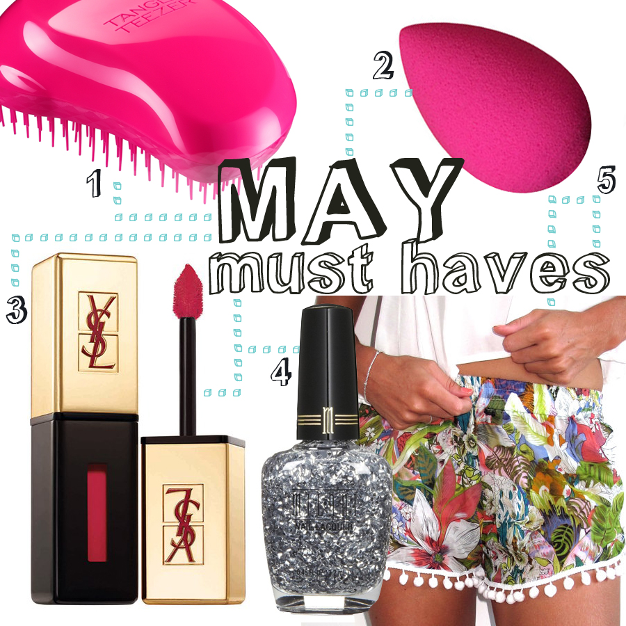 1. Tangle Tweezer ($18.81) 2. Beauty Blender ($19.95) 3. Yves Saint Laurent Glossy Stain ($35) 4. Milani Jewel Nail Polish #533 ($4.49) 5. Pom pom shorts ($29)
