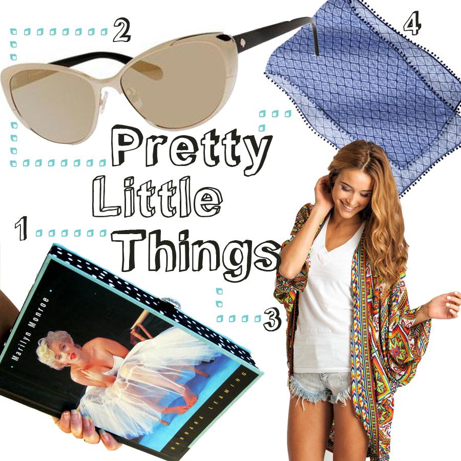 1. Book Clutch ($155) 2. Kate Spade Aliza Cat Eye Sunglasses ($109) 3. Arnhem Kimono ($170) 4. Target Scarf ($11.89)