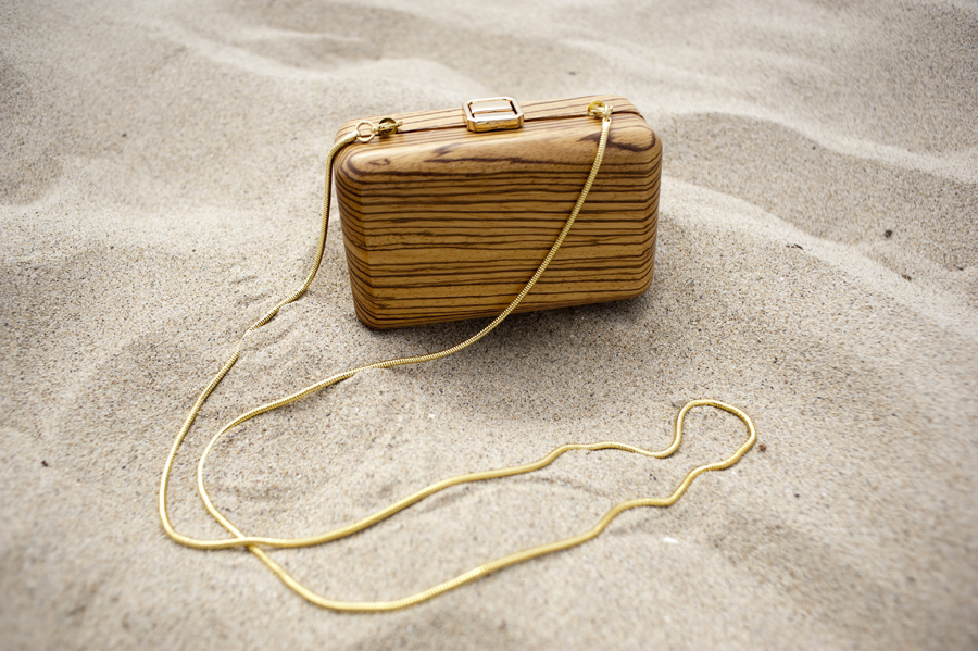 French Connection VIP Party Wood Minaudiere ($168)