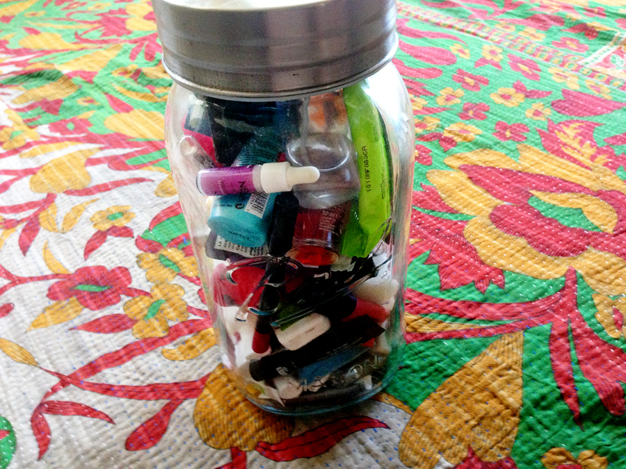 I probably have over 100 different, useless, samples hanging out in a giant mason jar in my bathroom.