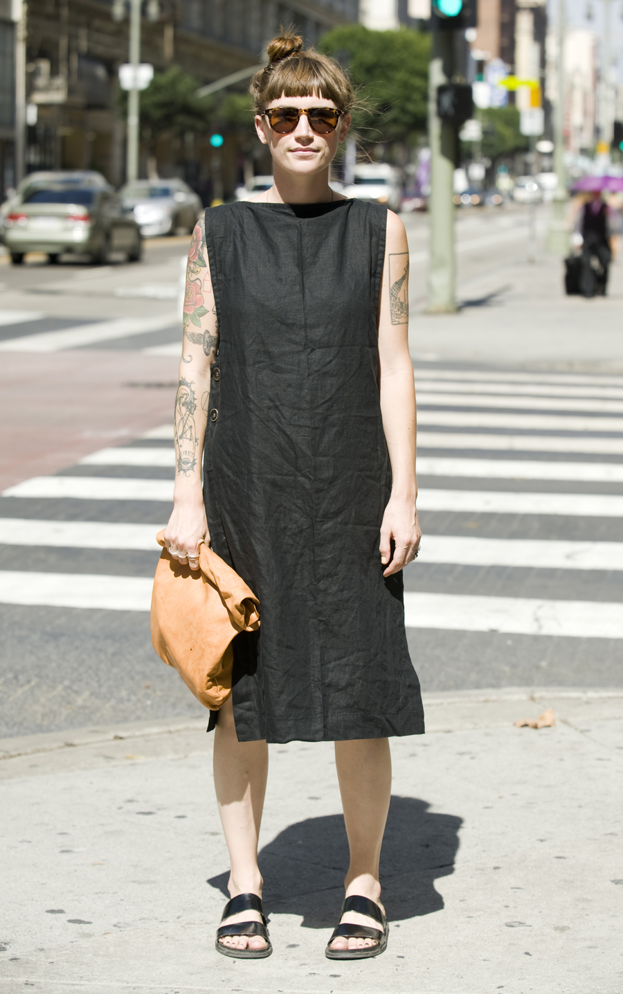 Claire Boutelle, 25, wears a dress of her own design.