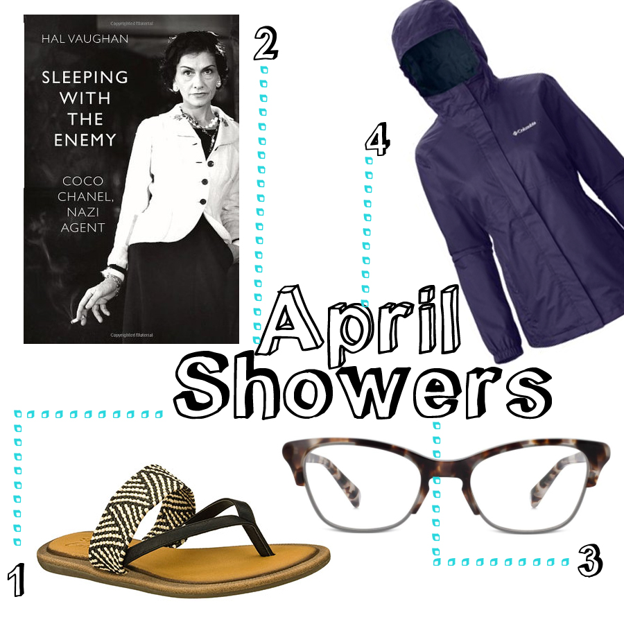 1.  Skechers sandals 'Women's Indulge - Sweet Tooth' ($48) 2. 'Sleeping with the Enemy, Coco Chanel, Nazi Agent' by Hal Vaughn ($12) 3. Warby Parker prescription glasses ($145) 4. Colombia Women's Jacket ($80)
