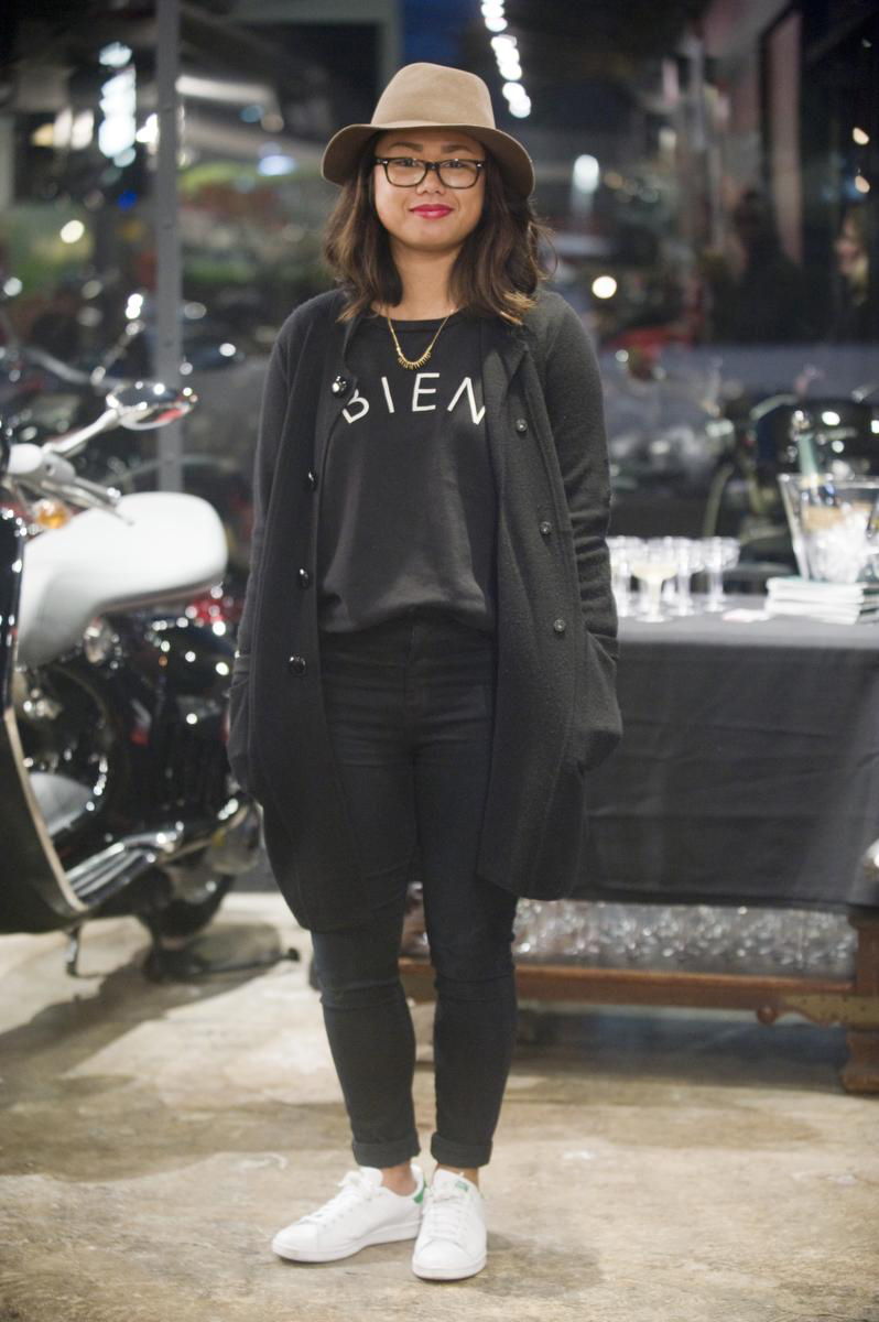 Black t shirt goes with - Martina Go 22 Wearing White Adidas Sam Smith Sneakers Black Madewell Pants And