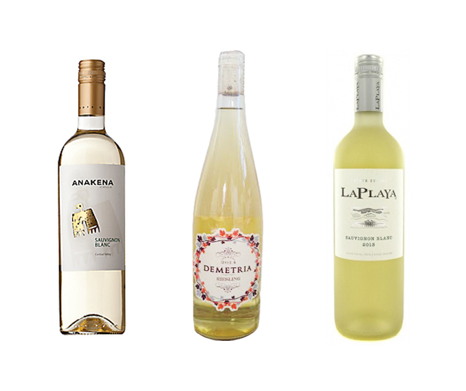 1.Anakena Sauvignon Blanc ($8.99) 2. Demetria Estates Riesling ($25) 3. La Playa Sauvignon Blanc ($6.99)