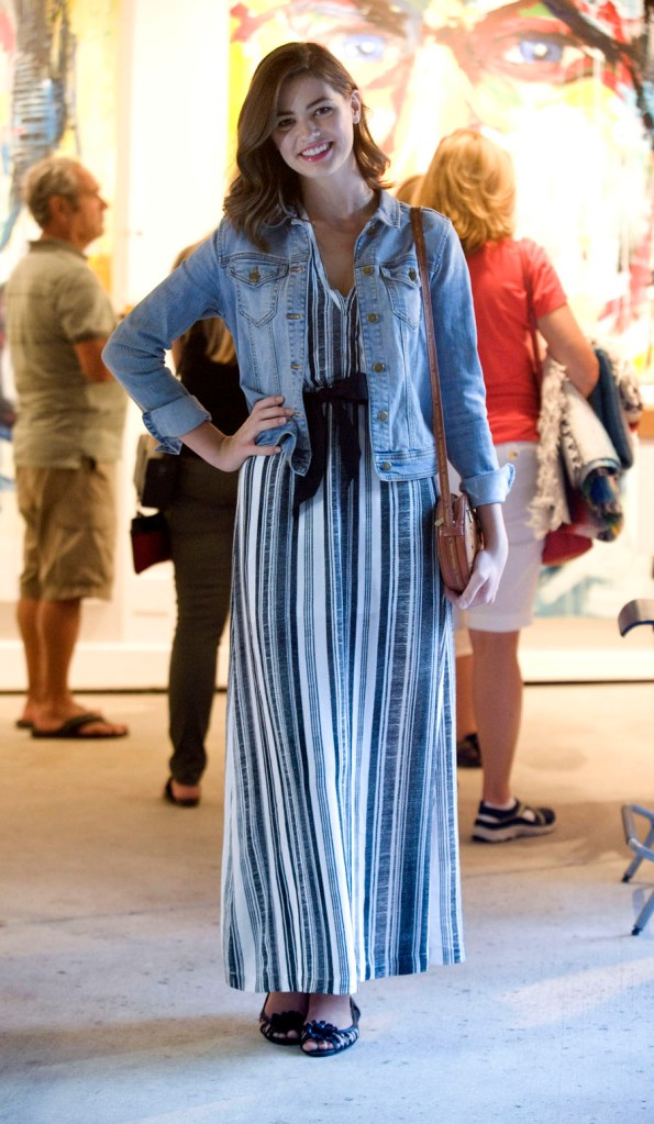 Savannah Husmann, 18, wearing an H&M maxi dress, denim jacket and Cole Haan shoes at the Pageant of the Masters.