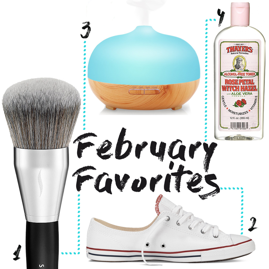 1. Sephora Collection Pro Allover Powder Brush #61 ($46) 2. Converse Chuck Taylor All Star 'Fancy' ($50) 3. URPOWER Essential Oil Diffuser ($45.99) 4. Thayers Rose Petal Witch Hazel with Aloe Vera ($11.99)