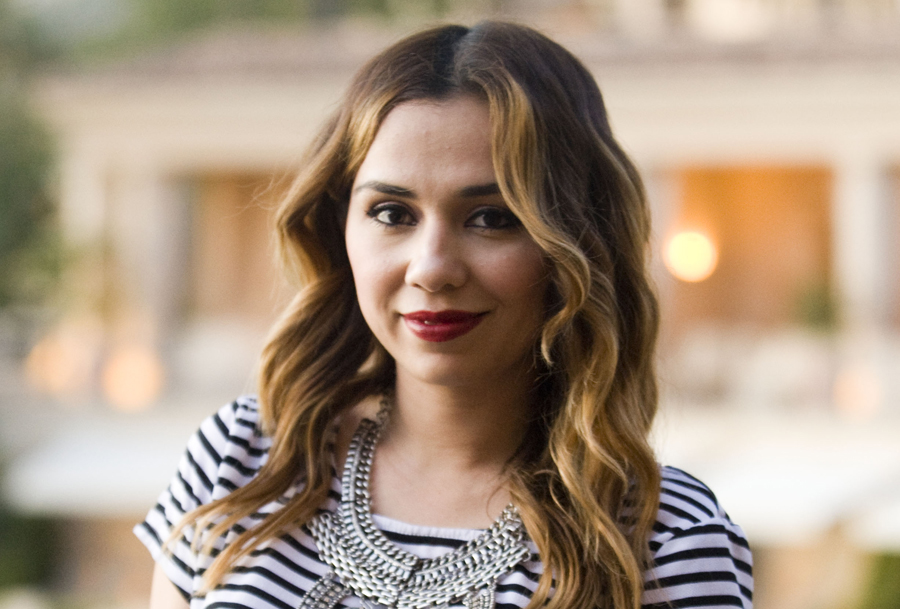 Vicky Penaloza, 29, was spotted at The Coliseum Pool and Grill at The Resort at Pelican Hill wearing a black-and-white striped shirt from Kohl's and a statement necklace from Fashion Pickle.