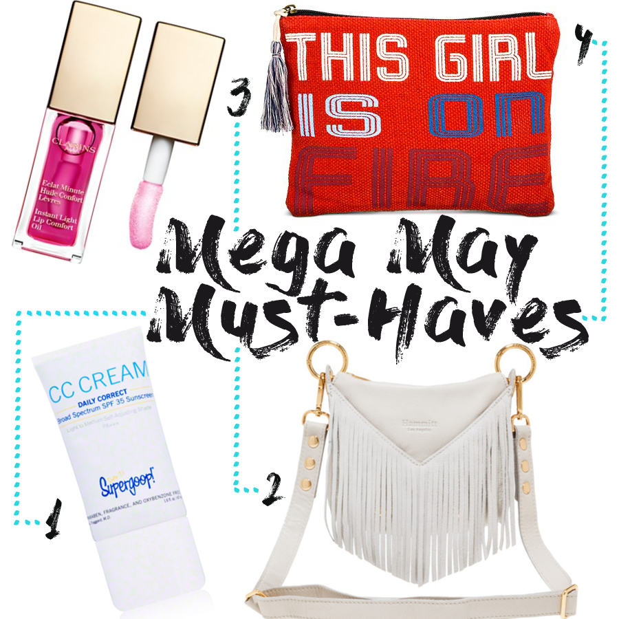 1.Supergoop SPF 35 Daily Correct CC Cream ($32) 2. Hammitt Handbags Andrew Fringe Cross body bag ($385) 3. Clarins Instant Light Lip Comfort Oil ($25) 4. Twig & Arrow Clutch ($9.99)