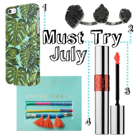 1. Jungle Leaves iPhone Case ($8.99) 2. Kendra Scott Naomi Ring ($130) 3. Yves Saint Laurent Lip Tint-In-Oil ($32) 4. Under Wraps Hair Ties ($10)